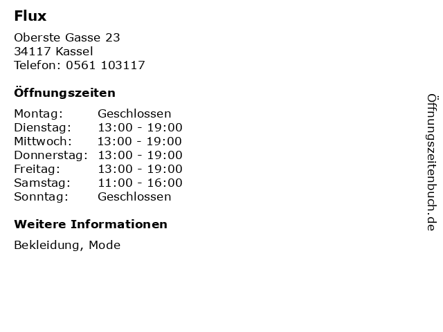 Flux in Kassel: Adresse und Öffnungszeiten