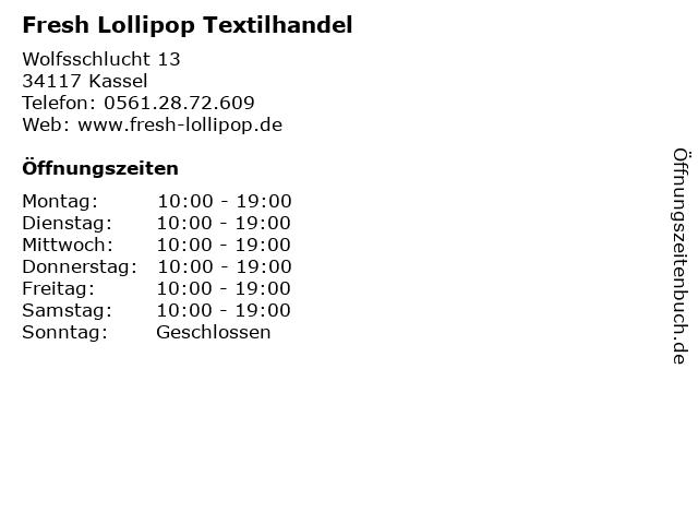 Fresh Lollipop Textilhandel in Kassel: Adresse und Öffnungszeiten