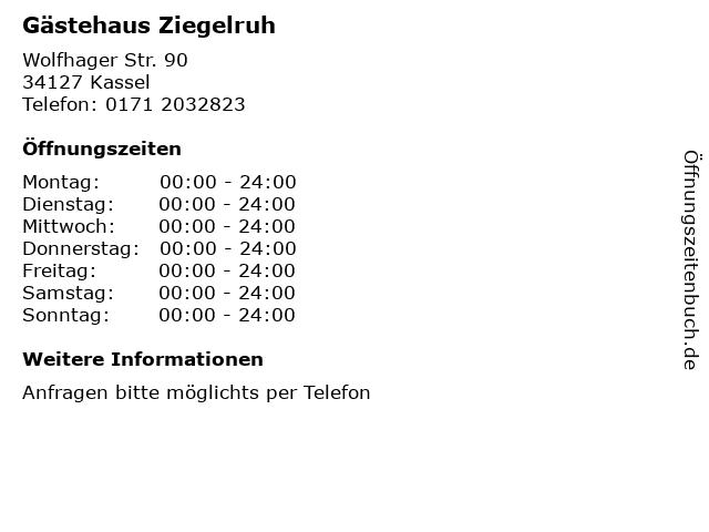 Gästehaus Ziegelruh in Kassel: Adresse und Öffnungszeiten