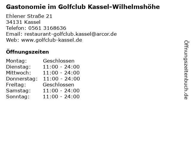 Gastonomie im Golfclub Kassel-Wilhelmshöhe in Kassel: Adresse und Öffnungszeiten