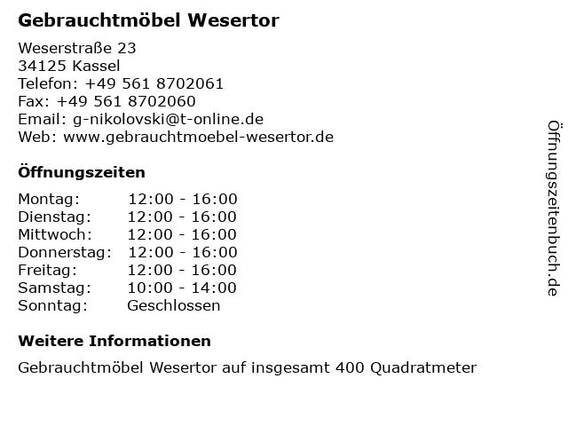 ᐅ öffnungszeiten Gebrauchtmöbel Wesertor Weserstraße 23 In Kassel
