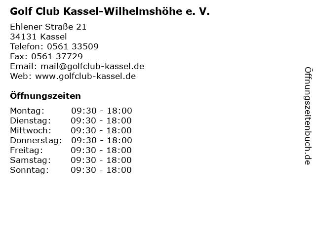 Golf Club Kassel-Wilhelmshöhe e. V. in Kassel: Adresse und Öffnungszeiten
