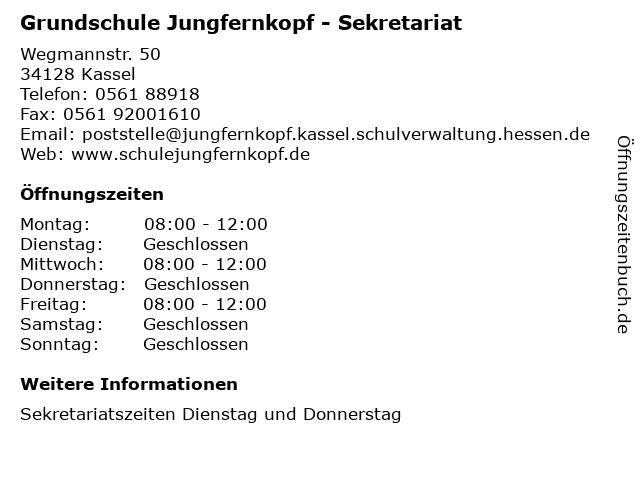 """ᐅ Öffnungszeiten """"Grundschule Jungfernkopf - Sekretariat"""