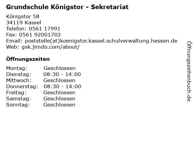 Grundschule Königstor - Sekretariat in Kassel: Adresse und Öffnungszeiten
