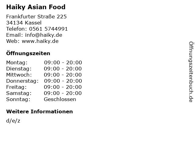 Haiky Asian Food in Kassel: Adresse und Öffnungszeiten