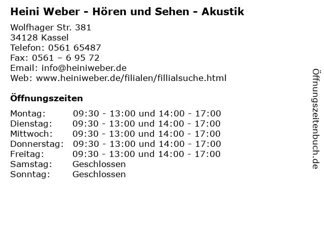 Heini Weber - Hören und Sehen - Akustik in Kassel: Adresse und Öffnungszeiten