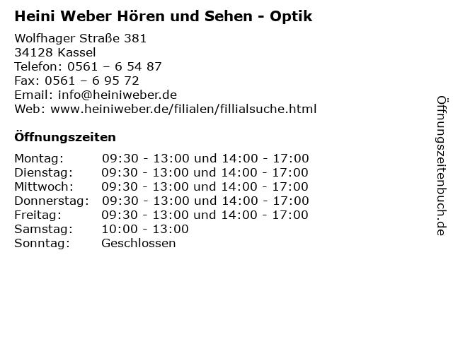 Heini Weber Hören und Sehen - Optik in Kassel: Adresse und Öffnungszeiten