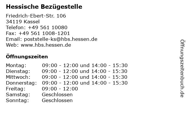 Hessische Bezügestelle in Kassel: Adresse und Öffnungszeiten