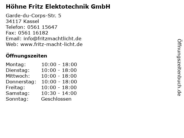 Höhne Fritz Elektotechnik GmbH in Kassel: Adresse und Öffnungszeiten