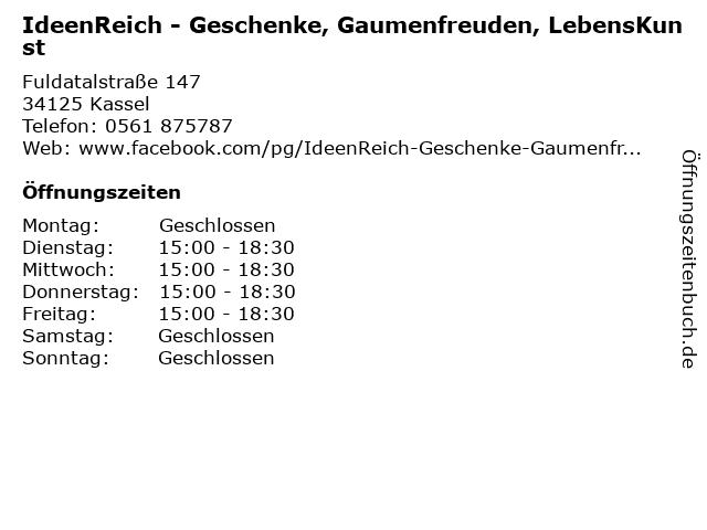 IdeenReich - Geschenke, Gaumenfreuden, LebensKunst in Kassel: Adresse und Öffnungszeiten