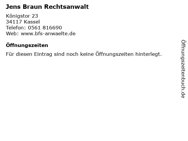 ᐅ öffnungszeiten Jens Braun Rechtsanwalt Königstor 23 In Kassel