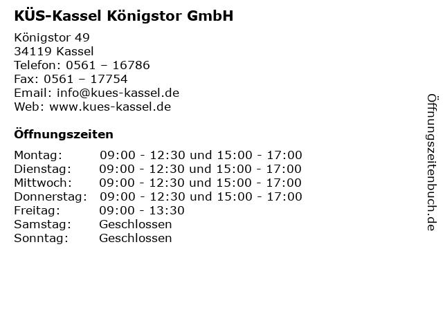 KÜS-Kassel Königstor GmbH in Kassel: Adresse und Öffnungszeiten