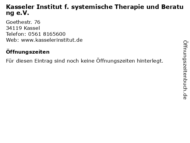 Kasseler Institut f. systemische Therapie und Beratung e.V. in Kassel: Adresse und Öffnungszeiten