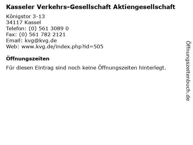 Kasseler Verkehrs-Gesellschaft Aktiengesellschaft in Kassel: Adresse und Öffnungszeiten