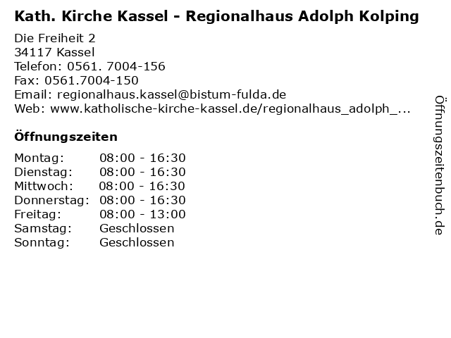 Kath. Kirche Kassel - Regionalhaus Adolph Kolping in Kassel: Adresse und Öffnungszeiten