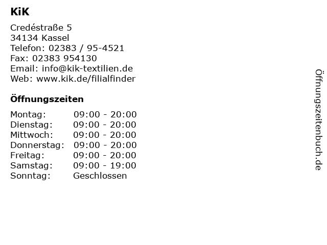KiK in Kassel: Adresse und Öffnungszeiten