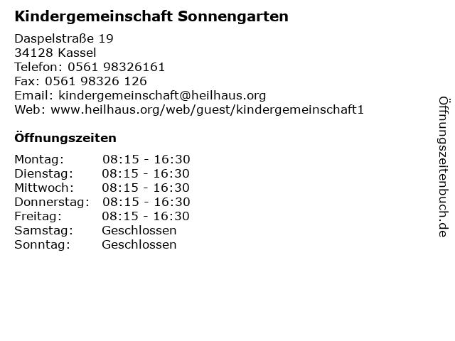 Kindergemeinschaft Sonnengarten in Kassel: Adresse und Öffnungszeiten