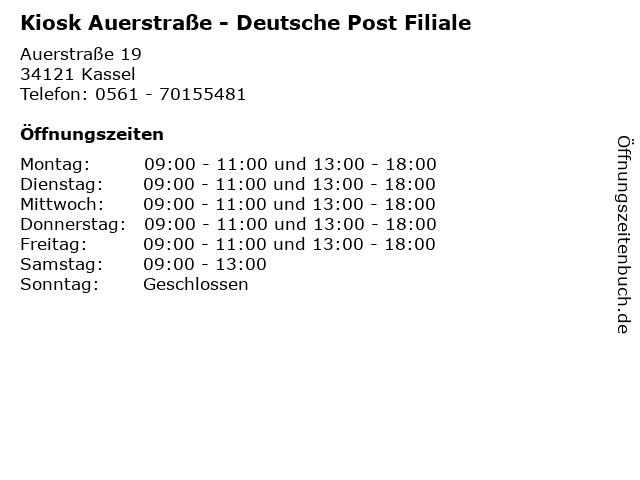 Kiosk Auerstraße - Deutsche Post Filiale in Kassel: Adresse und Öffnungszeiten