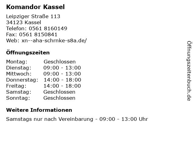Komandor Kassel in Kassel: Adresse und Öffnungszeiten