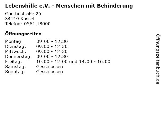 Lebenshilfe e.V. - Menschen mit Behinderung in Kassel: Adresse und Öffnungszeiten