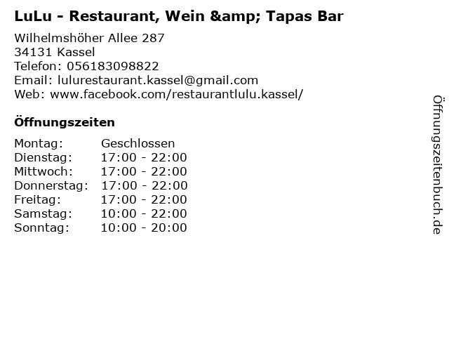ᐅ öffnungszeiten Familienrestaurant Lulu Wilhelmshöher Allee