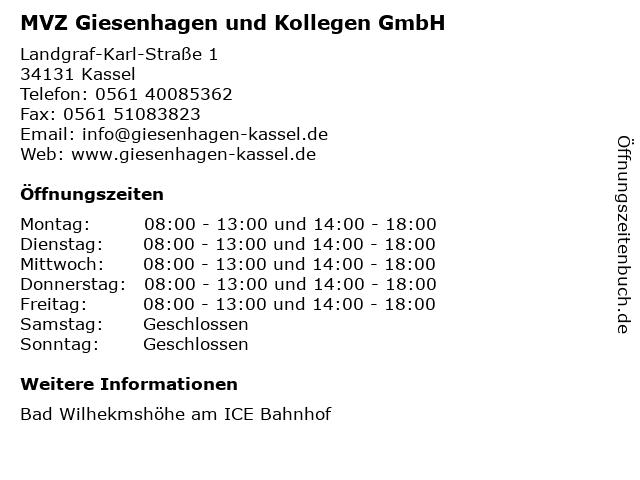 Dr. med. dent. Bernd Giesenhagen (Zahnarzt) in Kassel: Adresse und Öffnungszeiten