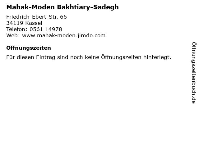 Mahak-Moden Bakhtiary-Sadegh in Kassel: Adresse und Öffnungszeiten