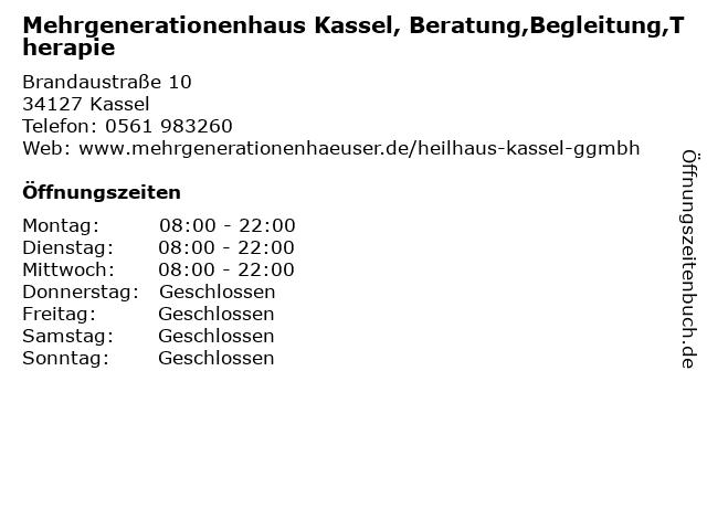 Mehrgenerationenhaus Kassel, Beratung,Begleitung,Therapie in Kassel: Adresse und Öffnungszeiten