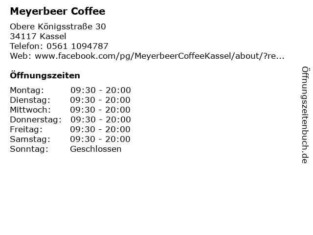 Meyerbeer Coffee in Kassel: Adresse und Öffnungszeiten
