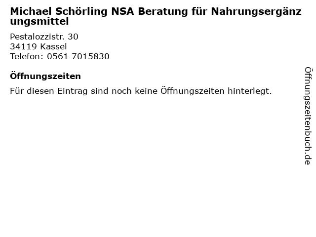 Michael Schörling NSA Beratung für Nahrungsergänzungsmittel in Kassel: Adresse und Öffnungszeiten