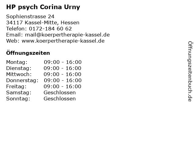 HP psych Corina Urny in Kassel-Mitte, Hessen: Adresse und Öffnungszeiten