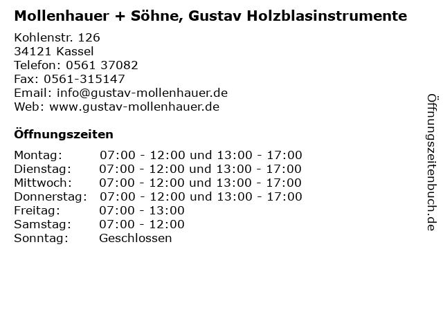 Mollenhauer + Söhne, Gustav Holzblasinstrumente in Kassel: Adresse und Öffnungszeiten