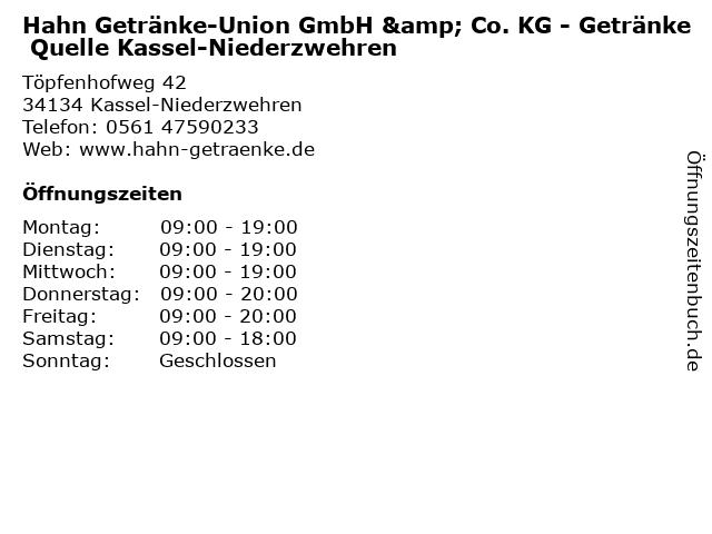 Hahn Getränke-Union GmbH & Co. KG - Getränke Quelle Kassel-Niederzwehren in Kassel-Niederzwehren: Adresse und Öffnungszeiten