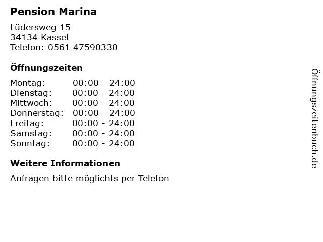 Pension Marina in Kassel: Adresse und Öffnungszeiten