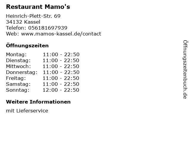 Restaurant Mamo's in Kassel: Adresse und Öffnungszeiten