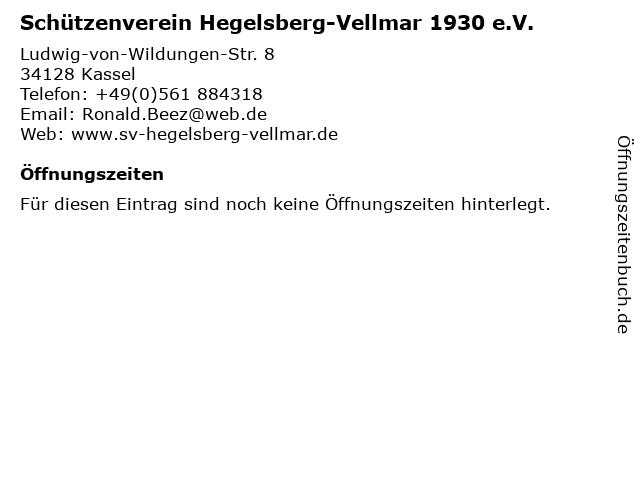Schützenverein Hegelsberg-Vellmar 1930 e.V. in Kassel: Adresse und Öffnungszeiten