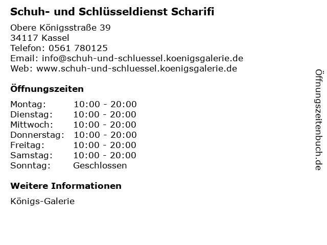 Schuh- und Schlüsseldienst Scharifi in Kassel: Adresse und Öffnungszeiten
