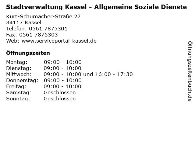 Stadtverwaltung Kassel - Allgemeine Soziale Dienste in Kassel: Adresse und Öffnungszeiten
