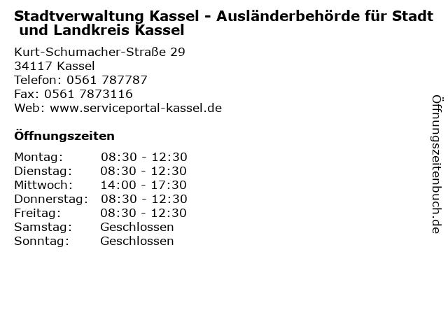 Stadtverwaltung Kassel - Ausländerbehörde für Stadt und Landkreis Kassel in Kassel: Adresse und Öffnungszeiten