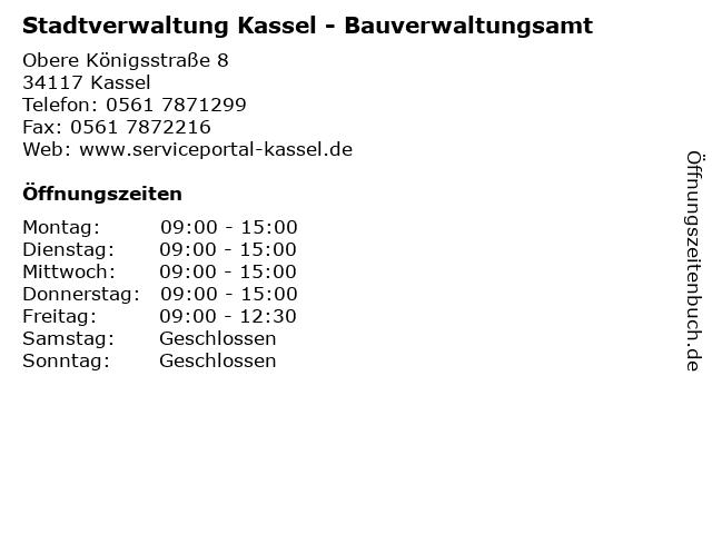 Stadtverwaltung Kassel - Bauverwaltungsamt in Kassel: Adresse und Öffnungszeiten