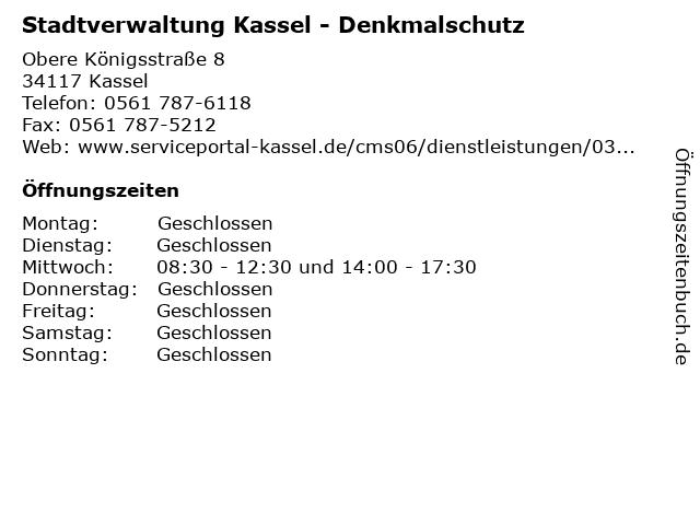 Stadtverwaltung Kassel - Denkmalschutz in Kassel: Adresse und Öffnungszeiten