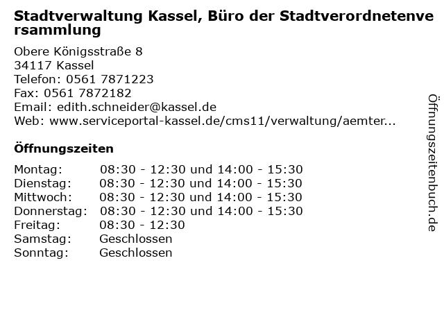 Stadtverwaltung Kassel, Büro der Stadtverordnetenversammlung in Kassel: Adresse und Öffnungszeiten