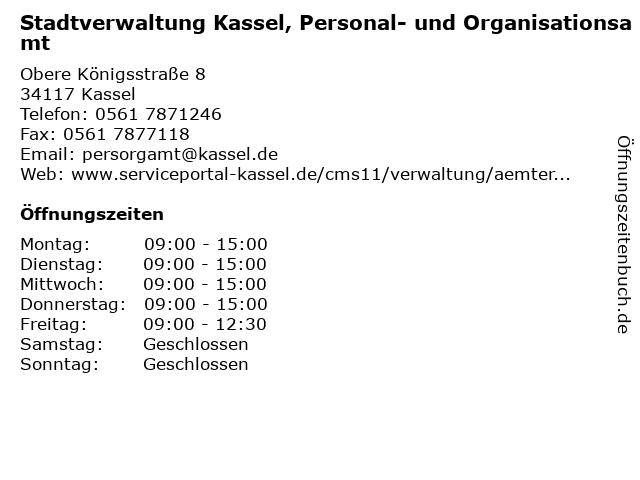 Stadtverwaltung Kassel, Personal- und Organisationsamt in Kassel: Adresse und Öffnungszeiten