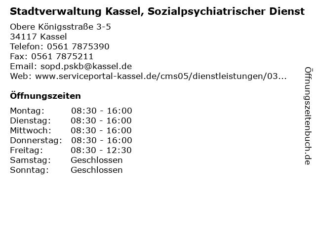 Stadtverwaltung Kassel, Sozialpsychiatrischer Dienst in Kassel: Adresse und Öffnungszeiten