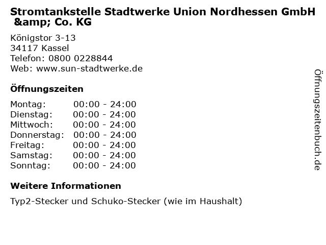 Stromtankstelle Stadtwerke Union Nordhessen GmbH & Co. KG in Kassel: Adresse und Öffnungszeiten