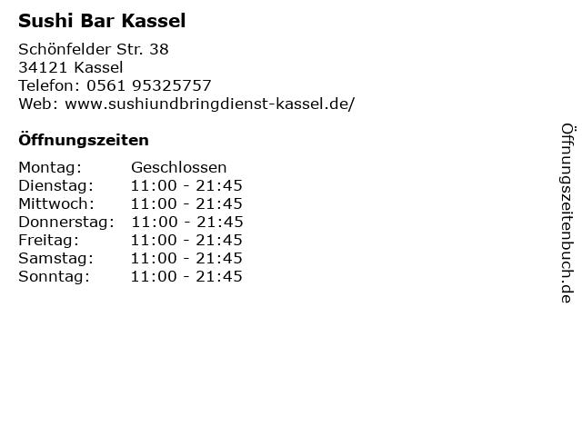 ᐅ öffnungszeiten Sushi Bar Kassel Schönfelder Str 38 In Kassel