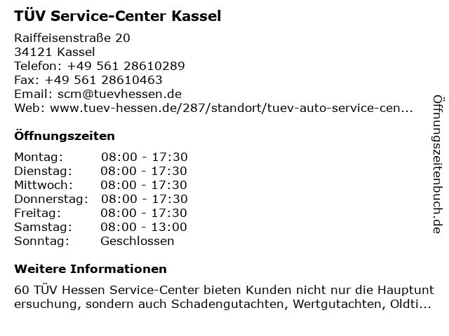 TÜV Service-Center Kassel in Kassel: Adresse und Öffnungszeiten