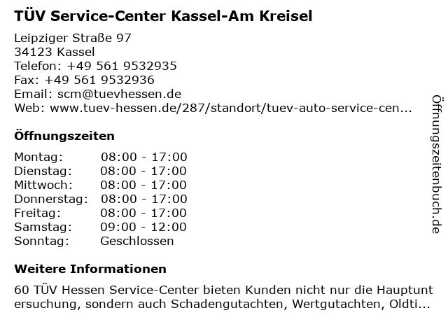 TÜV Service-Center Kassel-Am Kreisel in Kassel: Adresse und Öffnungszeiten