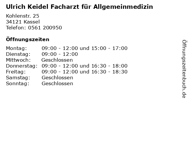 Ulrich Keidel Facharzt für Allgemeinmedizin in Kassel: Adresse und Öffnungszeiten