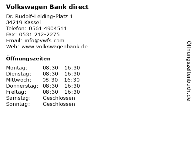 Volkswagen Bank direct in Kassel: Adresse und Öffnungszeiten